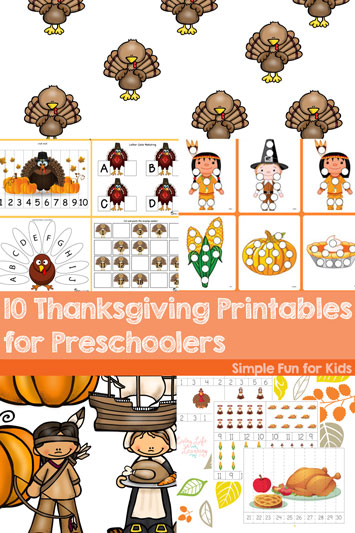 Do them in the weeks leading up to Thanksgiving, or even on the big day to keep the little ones busy: 10 Thanksgiving Printables for Preschoolers