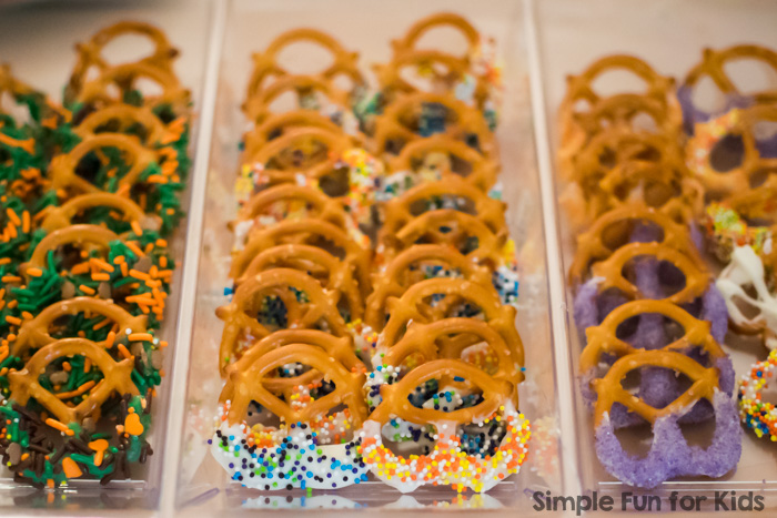 Make cute, simple chocolate dipped pretzels to match any theme! Perfect for special occasions like birthdays, Christmas, Valentine's Day, baby showers, etc.!