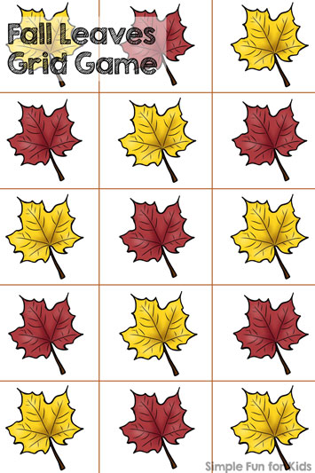Play this simple dice game with your preschooler: Fall Leaves Grid Game!