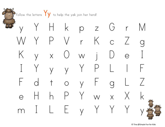 graphic about Printable Letter Y named Letter Y Maze - Easy Entertaining for Young children
