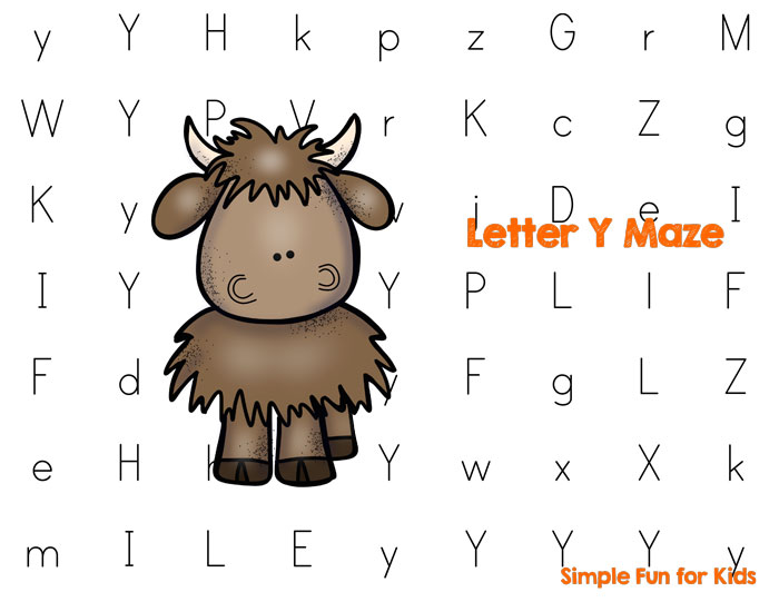 Help a little one learn his or her letters with this cute Letter Y Maze printable! Perfect for preschoolers and toddlers!