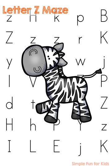 Is your child learning his or her letters? Make it more fun with this cute Letter Z Maze - perfect for preschoolers and toddlers!