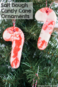 I hadn't used salt dough in decades, but now that we've tried it, I think we'll make a LOT of salt dough Christmas ornaments! Check out these simple salt dough candy cane ornaments from plain and colored salt dough!