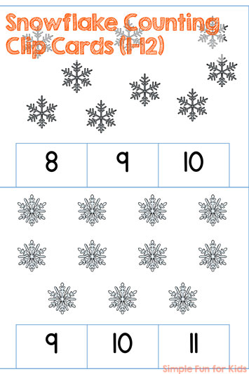 Learn counting to 12 with the perfect winter theme! Cute Snowflake Counting Clip Cards (1-12), low-prep (or even no-prep if you prefer), aligned with common core standard K.CC.B.5 (rectangular array for numbers above 10) .