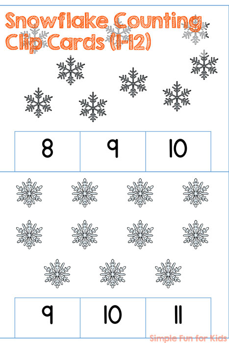 Learn counting to 12 with the perfect winter theme! Cute Snowflake Counting Clip Cards (1-12), low-prep (or even no-prep if you prefer), aligned with common core standard K.CC.B.5 (rectangular array for numbers above 10).