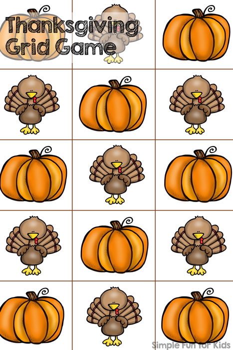 Super simple, no-prep printable dice game for preschoolers: Thanksgiving Grid Game!