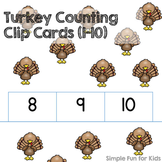 Is your preschooler learning to count to 10? These cute Turkey Counting Clip Cards (1-10) are great for reviewing - in November or any other month!