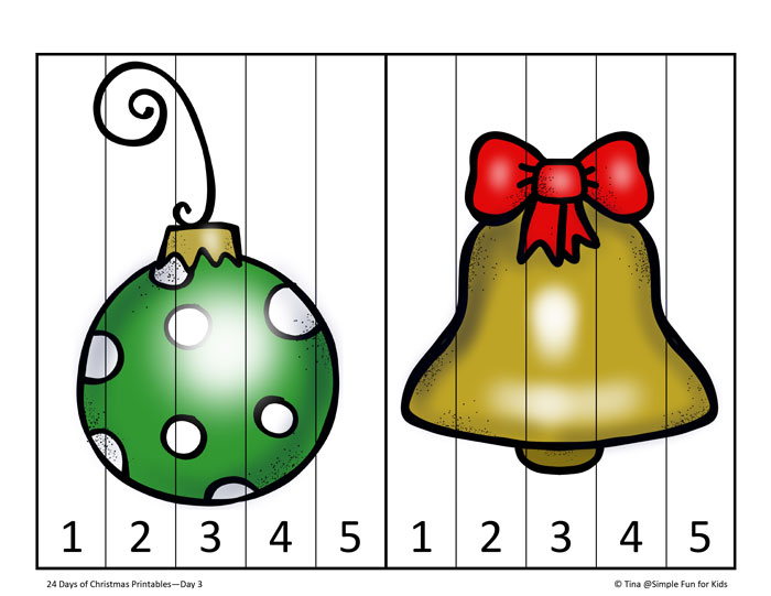 24 Days of Christmas Printables: Day 3 - 5 piece and 10 piece Christmas puzzles perfect for older toddlers and preschoolers!