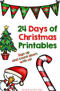 Want a frugal, low-prep advent calendar for older toddlers, preschoolers and kindergartners that requires minimal supplies? Sign up for my special newsletter and follow along with 24 Days of Christmas Printables!