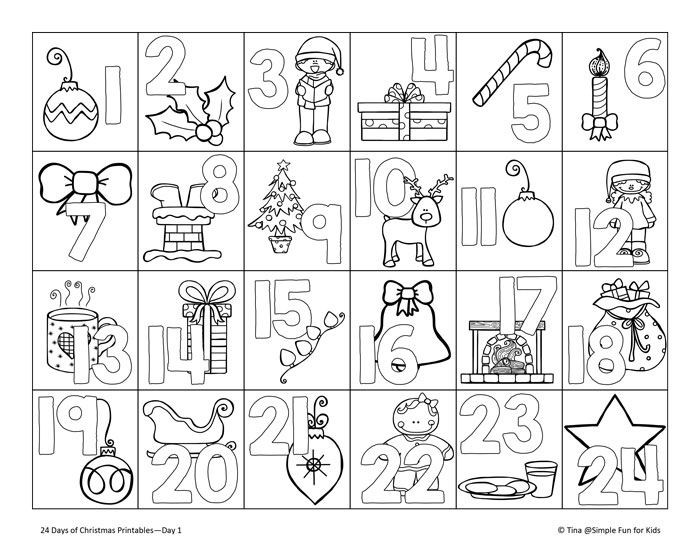 24 days of christmas printables day 1get ready for the christmas countdown with - Advent Coloring Pages