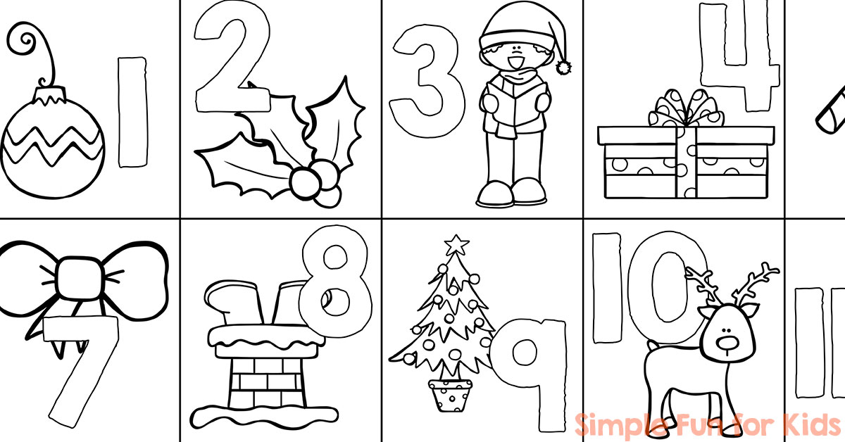 Christmas Countdown Day 1: Advent Calendar Coloring Page - Simple ...