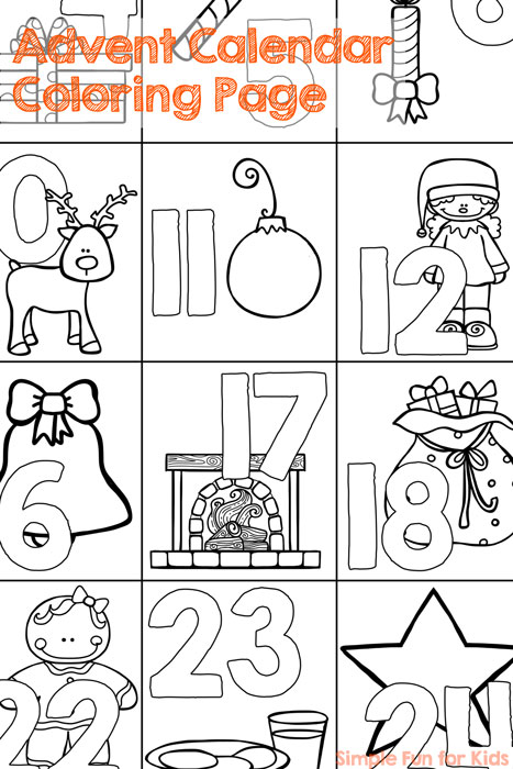 Free advent calendar coloring pages coloring pages for Free advent calendar coloring pages