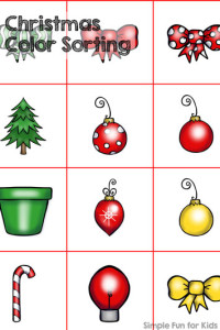24 Days of Christmas Printables - Day 8: Quick and simple Christmas color sorting! Toddlers and younger preschoolers will love it!