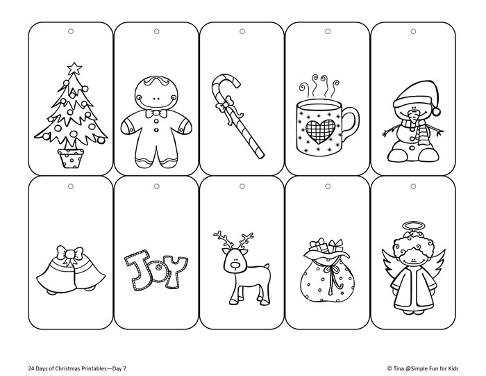 24 days of christmas printables day 7 personalize all gifts you give and color - Printable Christmas Name Tags