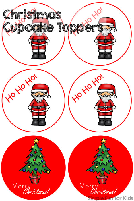 24 Days of Christmas Printables - Day 11: Are you having a Christmas party? Here are some cute Christmas cupcake toppers for you! Not making cupcakes? They can also be used as Christmas stickers, gift tags or even ornaments!