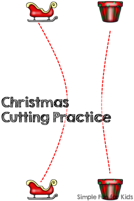 24 Days of Christmas Printables - Day 20: Do some quick and simple Christmas cutting practice for different skill levels of toddlers, preschoolers, and kindergartners. Works on fine motor skills and helps with developing pencil control.