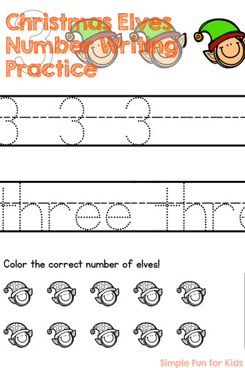 Christmas Countdown Day 24: Christmas Elves Number Writing Practice