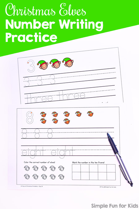 24 Days of Christmas Printables - Day 24: Practice writing numbers, number words, counting, and working with ten frames with this Christmas Elves Number Writing Practice printable! Fun math for preschoolers and kindergartners.