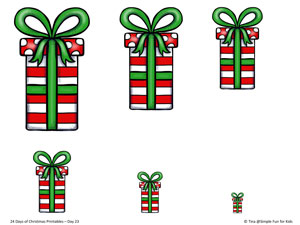 24 Days of Christmas Printables - Day 23: Practice sorting, classifying, and matching skills for toddlers and preschoolers with this Christmas gift size sort printable!