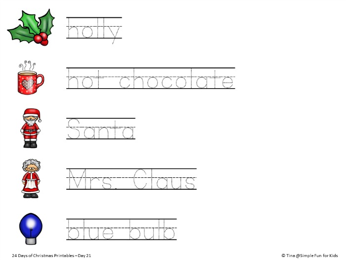 picture about Words to 12 Days of Christmas Printable identified as Xmas Countdown Working day 21: Xmas Handwriting Educate
