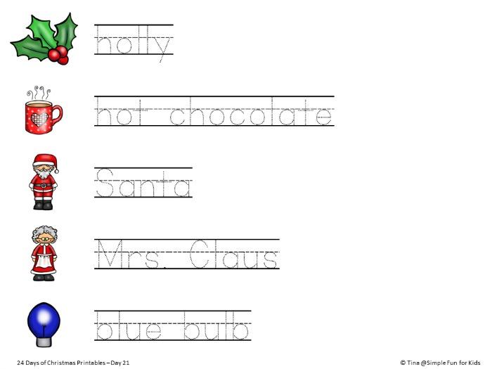 24 Days of Christmas Printables - Day 21: Trace Christmas words and ...