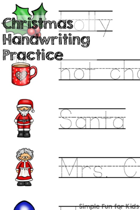24 Days of Christmas Printables - Day 21: Trace Christmas words and work on literacy and handwriting with this cute Christmas Handwriting Practice printable! Perfect for preschoolers and kindergartners.