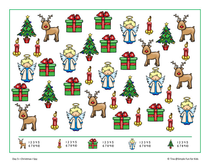 photograph regarding Printable Christmas Images referred to as Xmas Countdown Working day 5: Xmas I Spy Activity Printable