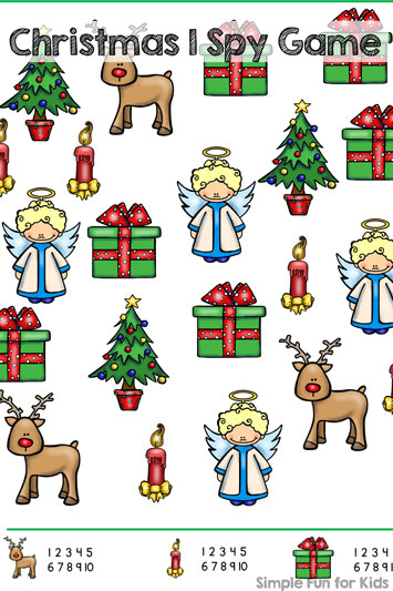 Christmas Countdown Day 5: Christmas I Spy Game Printable