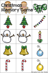 24 Days of Christmas Printables - Day 14: Play a cute and simple memory game with your toddler, preschooler or kindergartner! 15 matches included.