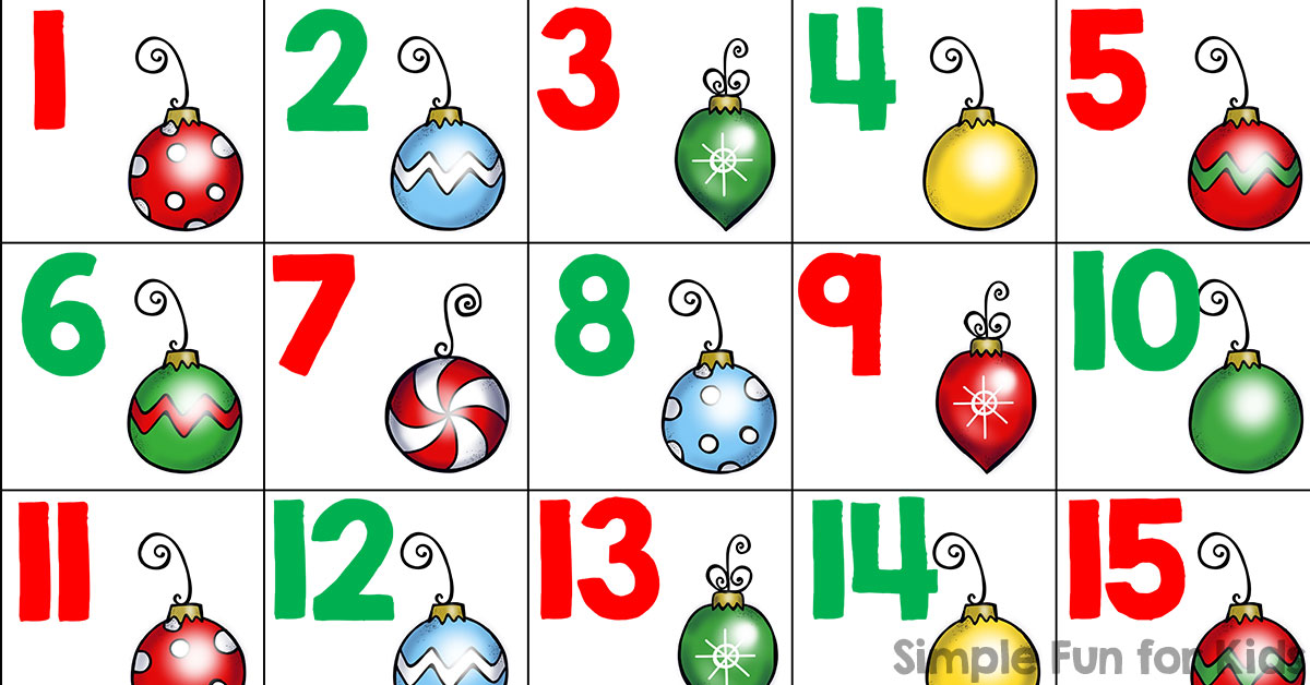 Christmas Countdown Day 6: Christmas Ornament Number Cards (1-20 ...