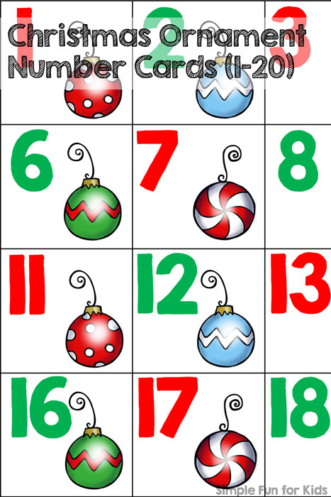 24 Days of Christmas Printables - Day 6: Christmas Ornament Number Cards (1-20) help kids work on spotting number patterns, counting, number order, etc.! Perfect for toddlers, preschoolers, and kindergartners!