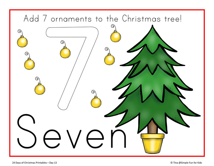 24 Days of Christmas Printables: Make learning numbers more fun and add a sensory component when decorating these Christmas tree counting play dough mats! Perfect for toddlers, preschoolers, and kindergartners!
