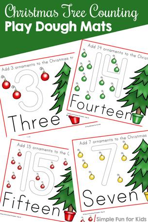 Christmas Countdown Day 13: Christmas Tree Counting Play Dough Mats