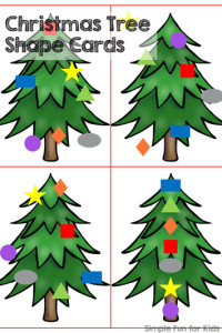 24 Days of Christmas Printables - Day 17: Play with shapes, follow instructions, and decorate with these Christmas Tree Shape Cards! Perfect for toddlers and preschoolers.