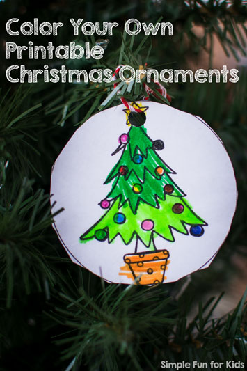 24 Days of Christmas Printables: Day 4 - color your own printable Christmas ornaments! Super fun and cute ornaments for toddlers and preschoolers!