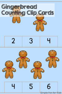 24 Days of Christmas Printables - Day 18: Practice counting and fine motor skills with these cute Gingerbread Counting Clip Cards! Great for preschoolers and kindergartners!