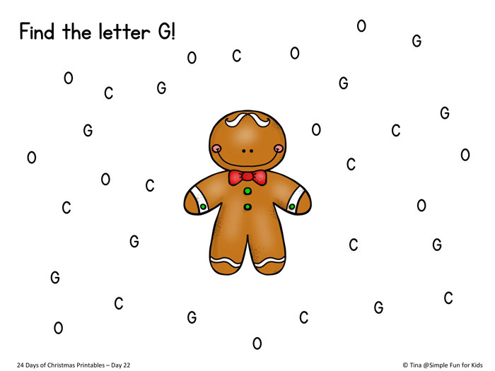 24 Days of Christmas Printables - Day 22: Reinforce letter recognition with this G is for Gingerbread letter find printable for toddlers, preschoolers, and kindergartners!