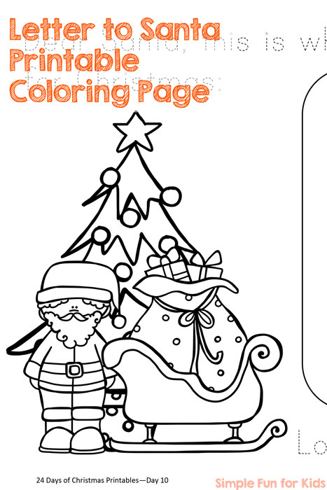 letter to santa printable 24 days of christmas printables day 10 color draw and trace a