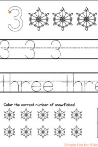 Working on writing numbers? This printable will help! Trace and write numbers and number words 1-5, color the snowflakes, and use a ten frame! Great for preschoolers and kindergartners!