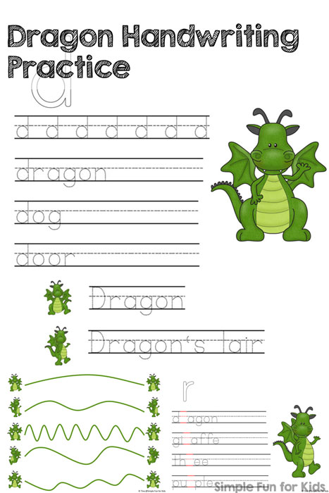 Do you celebrate Appreciate A Dragon Day? Do your kids just really like dragons? They can do some Dragon Handwriting Practice by tracing, copying, and filling in blanks! Perfect for older preschoolers and kindergartners.