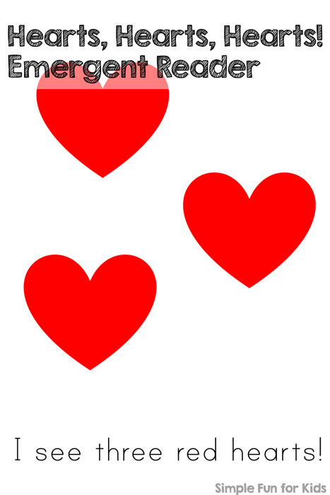 image regarding Printable Red Hearts known as Hearts, Hearts, Hearts Emergent Reader - Basic Pleasurable for Children