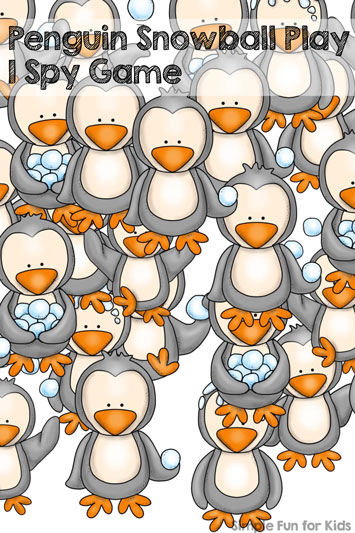 This is such a cute printable! Penguin Snowball Play I Spy Game Printable for preschoolers and kindergartners!