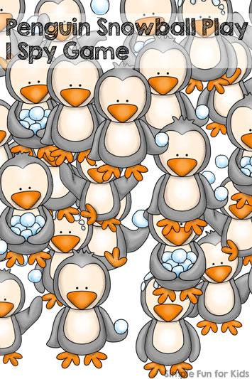 Penguin Snowball Play I Spy Game
