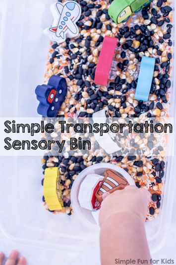 Simple Transportation Sensory Bin