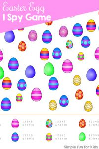 Quick and simple printable games for kids: Find and count the different Easter eggs in this Easter Egg I Spy Game! Great for preschoolers and kindergartners.