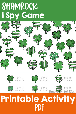 Printable Games for Kids: Practice counting, visual discrimination, number recognition, and more with this Shamrock I Spy game! A fun quick and simple math game with a St. Patrick's Day theme for toddlers, preschoolers, and kindergartners.