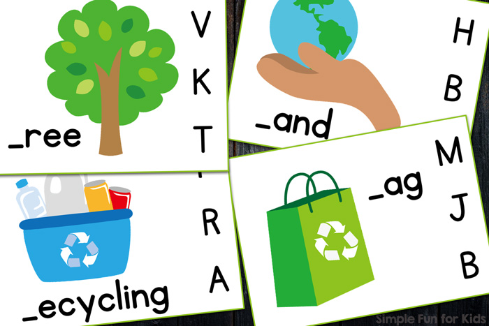 Printable Literacy Clip Cards for Kids: Practice beginning sounds with these cute Earth Day Beginning Sound Clip Cards! Great for older preschoolers and kindergarteners!