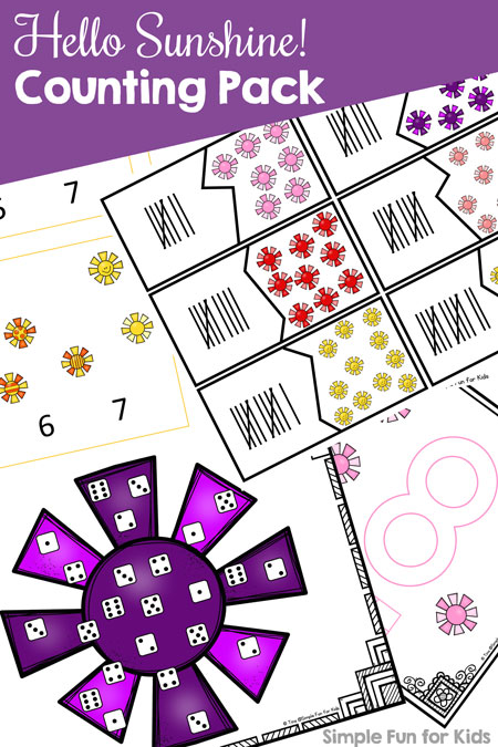 This Counting Printable Pack contains 10 different activities for learning and practicing counting at different skill levels for toddlers and preschoolers with play dough mats, games, clip cards, puzzles, and more. Includes numbers, dice, and tally mark versions.