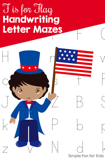 Does your child love letter mazes but need a bit more of a challenge? Try these printable F is for Flag Handwriting Letter Mazes, perfect for Memorial Day or the 4th of July!