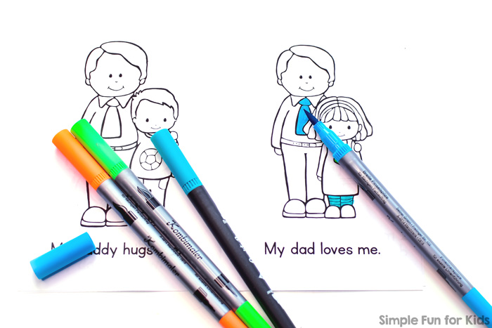 Image of I Love My Daddy Emergent Reader black and white version with colored markers.